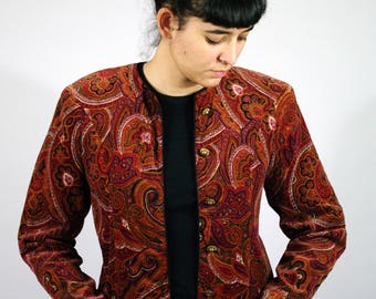 Vintage 80s Baroque Patterned Jacket Fitted Blazer Classic Shoulder Pad Red Orange Gold Buttons Women Womens M Medium