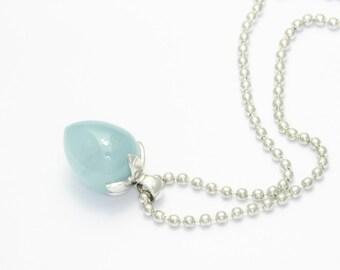 Frost Blossom - aquamarinependant white gold