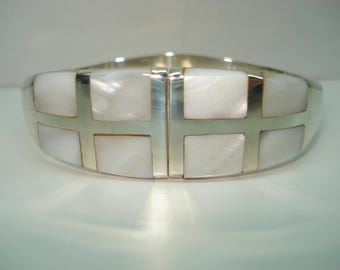 Sterling Silver Inlaid Mother of Pearl Large Hinged Bangle Bracelet