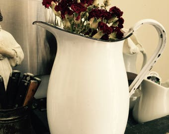 Antique// Jeanne De Arc// Early// White// French Enamelware// Pitcher// Everyday Workhorse// Shabby Chic & Awesome!!