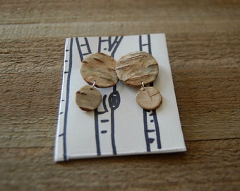 Two Tiered Circle Birch Bark Studs Sterling Silver FREE US SHIPPING