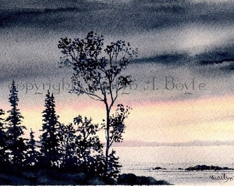 SMALL ORIGINAL WATERCOLOR; scene, lake, stormy skies, sunrise, wall art, 4.25 x 8.25 inches, miniature art, Canadian art, trees, watercoolor