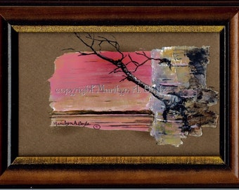 HAND PAINTED on BIRCH Bark;  miniature painting, 4 x 6 inches framed, wood frame, scene, birch bark tree on birch bark