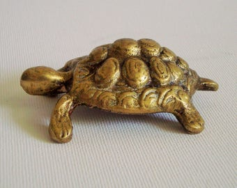 Vintage tortoise turtle brass ornament