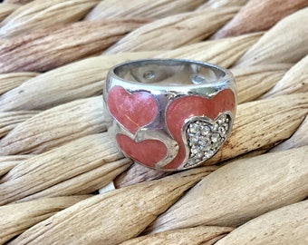 Lovely Sterling Silver Rose Heart design with Studs Ring