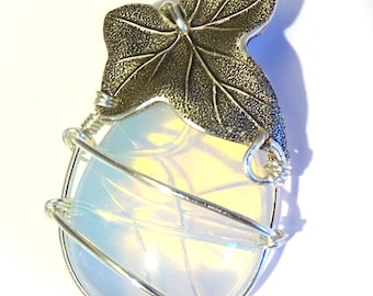 necklace pendant gemstone opal wire wrapped with leaf
