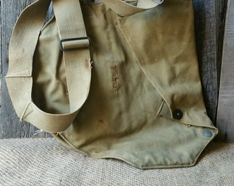 Vintage Military Canvas Gas Mask Bag, Military Bag, Military Canvas Bag, Repurposed Tote, Repurposed Messenger Bag, Repurposed Purse