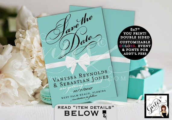 Breakfast at Tiffany's Save The Date, turquoise blue, white bow, customizable text, digital file only, double sided 5x7, PRINTABLE.
