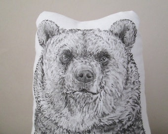 bear throw pillow bear plush decorative pillow animal shaped stuffed hand painted black and white woodland