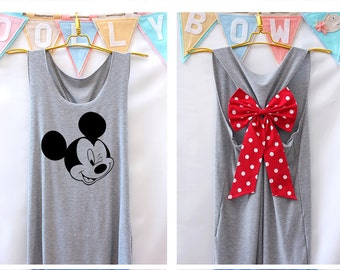 I'm Mickey mouse mickey Disney Tank Premium with Bow : Workout Shirt - Keep Calm Shirt - Tank Top - Bow Shirt - Razor Back Tank