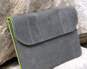 GREY APPLE MacBook - Late 2016 - leather case, antique leather, stone-grey-marbled, wool felt 2 mm in silver gray