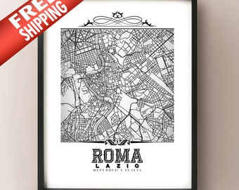 Roma Vintage Style Black & White Map Art Print - Rome, Italy City Map Decor