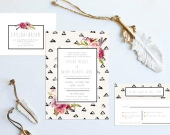 Boho Watercolor Floral Wedding Invitation