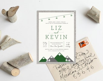Rustic Mountain Chairlift Wedding Invitation