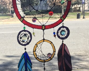 Dreamcatcher Stained Glass Feather Sun Catcher Panel Window