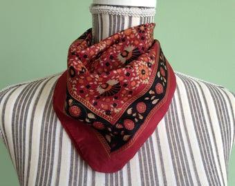 Square Neckerchief, Pure Silk Scarf, Brick Red Vintage Kerchief, Floral Neckerchief, Black Orange Tan Unisex Neckerchief, Womens Small Scarf