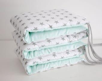 Baby Cot Bumper   Grey Cot Bumper Stars Bumper Mint Grey Bumper Half Cot Bumper Crib Bumper Pastel