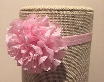 Eyelet Flower Infant Headbands, Pink Flower Headband, White Flower Headband, Eyelet Flower Headband, Infant Headband, Elastic Headband