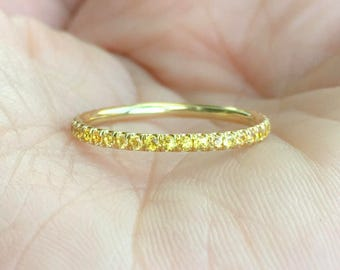 18K Sapphire Eternity Band 1.7mm 18K Pave Yellow Sapphire Full Eternity Ring 18K Sapphire Matching Eternity Yellow Sapphire Ring Infinity