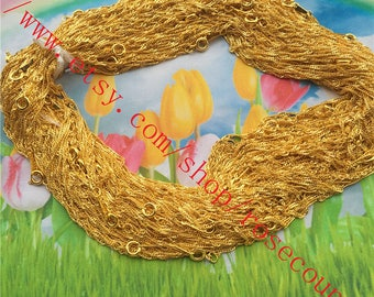 Wholesale 100pcs 16 inch gold plated 2mm width flat cable chain necklace with round clasps