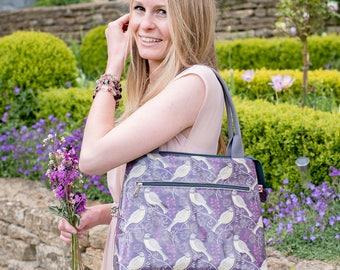 NEW! Song Thrush Purple Oilcloth Handbag / Oilcloth Bag / Shoulder Bag / Vegan Bag / original design by Susie Faulks / Made in England