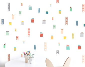 Tiny Buildings Colorful Compilation - WALL DECAL