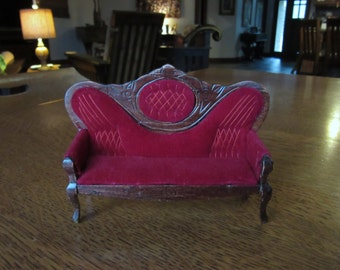 Haunted Red Velvet Couch, Baroque Vintage Dollhouse, Doll House Parlor Furniture, Gothic Living Room, Victorian Miniature Sofa,Burgundy Wine