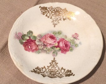 """Vintage Antique Miniature  Scalloped Rose & Gold  3 1/8"""" Round Plate"""