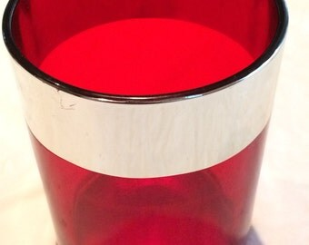 "Vintage Red Glass with Silver Tone Lining 5"" x 4""  Tall Votive Holder"