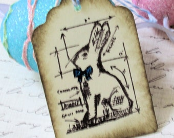 Set of 6 Hand-Stamped Easter Bunny Rabbit with Bow Gift Tags