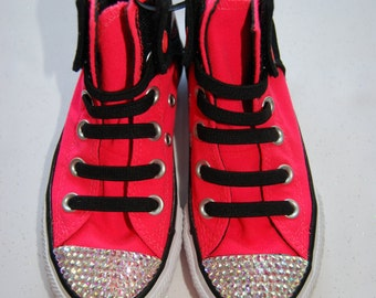 K11 Unisex kids hot pink and black high top Converse with AB rhinestones