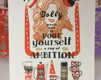 Dolly Parton Screen Print - Hand Printed Silk Screen Poster - Kitchen Art
