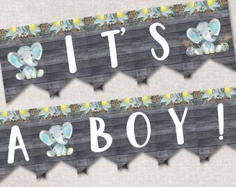 It's a BOY Banner, Baby Shower Banner Boy, Printable Baby Shower Banner Elephant Baby Shower Decoration Safari Elephant banner shower decor