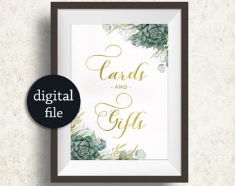 Cards and Gifts Sign Printable, Succulent Cards Gifts Sign, Wedding Table Sign, Green Gold Wedding Sign, Green Floral Table sign Digital