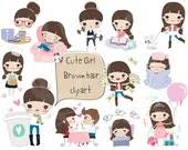Brown hair girl clipart ,girl stickers clipart instant download PNG file - 300 dpi
