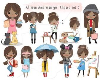 African American girl Clip art Black Girl clipart set 5 , instant download PNG file - 300 dpi