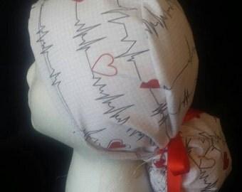 Heartbeat EKG Bow Tie Ponytail Surgical Scrub Hat