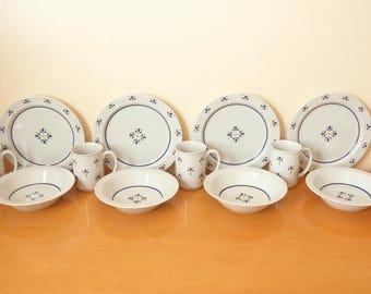 Vintage Avon Dinnerware Set -NOS Fresh Flowers Pattern- 1987 Sales Achievement Rep Gift- Cermaic 4 Salad Plates/ 4 Bowls/ 4 Mugs- Unused Set