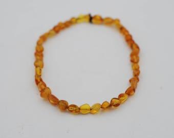 4-5mm Amber Nugget Shape Elastic Bracelet
