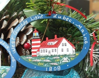 West Quoddy Lighthouse Ornament - Metal -Handpainted -Folkart- Ready to go gift