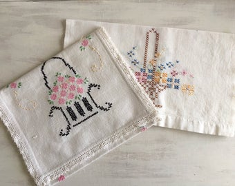 Two Vintage Embroidered Cross Stitch Table Runners or Dresser Scarves