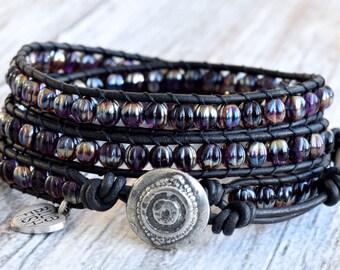 Boho Bracelet, Black Wrap Bracelet, Beaded Wrap Bracelet, Black Bracelet, Bohemian Jewelry, Bohemian Wrap Bracelet