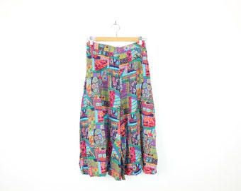 Colourful 90s Vintage Wide Leg Mid Length Gaucho Pants Wide Happy Rainbow Colour Festival Palazzo Skorts High Waisted Trousers with Pockets