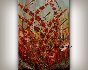 Red Flower Art Large Oil Painting, Modern Art Red Abstract Painting Waves paintings Original Contemporary Wall Art Decor by Nandita