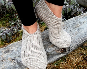 Hand knit wool slippers, Hand knit wool slipper socks, Hand knit slippers, Knitted Wool Socks, Knit Indoor Clogs, Wool socks for women