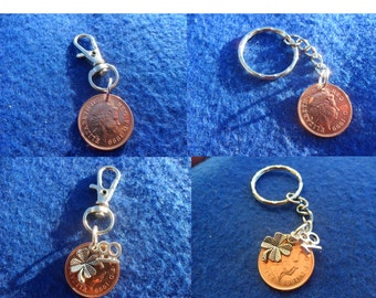 18th Birthday gift 1999 British coin keychain or bag charm 18th birthday present with lucky clover charm