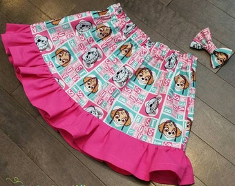 Paw Patrol Skye and Everest Ruffle Skirt and Mini bow