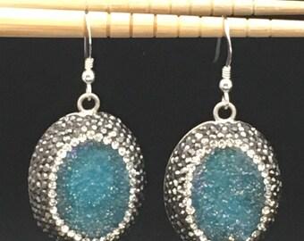 Druzy Earrings, Turquoise Druzy Earrings, Pave Swarovski Crystal Earrings, Statement Earrings, Silver Earrings, Earrings under 100