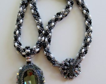 Beaded Rope Necklace with Swarovski Crystal Pendant