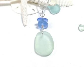 Ocean Sea Glass Jewelry Sea Glass Necklace Seafoam with Cornflower Blue Genuine Beach Glass Sea Glass Jewelry